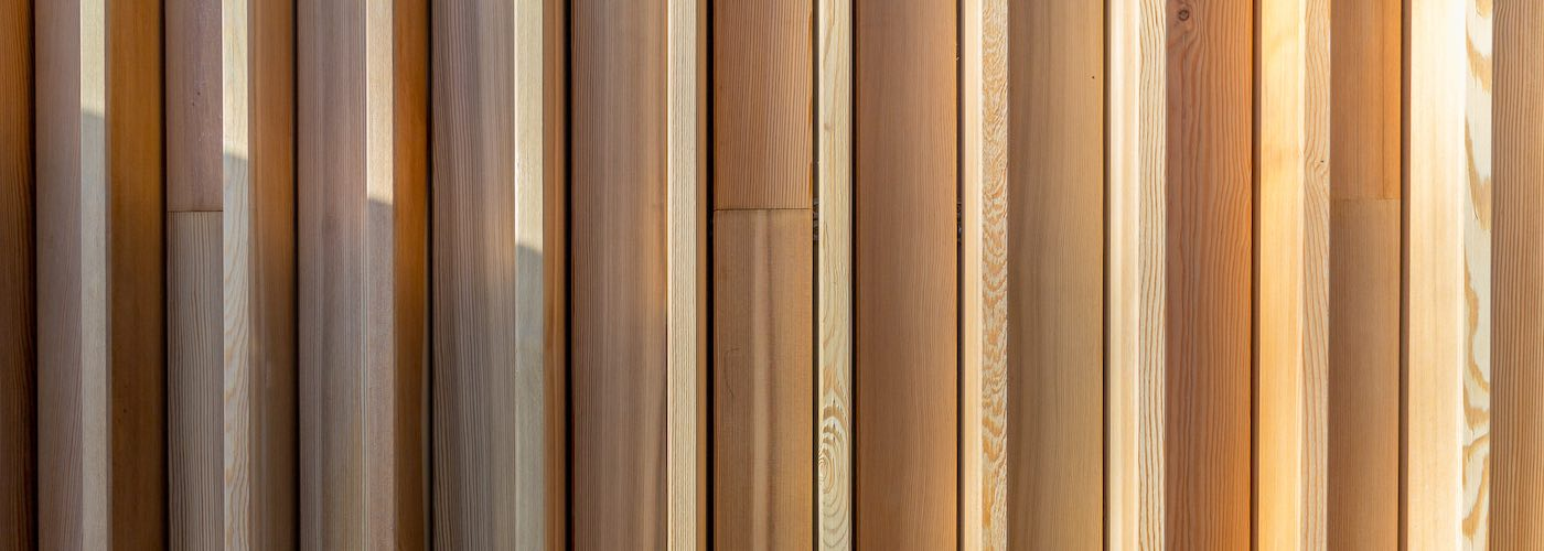 The Siberian larch cladding is staggered to give texture and depth to the wall.